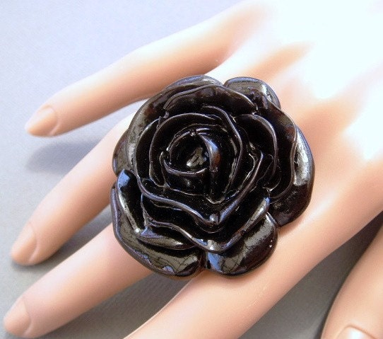 HUGE BLACK ROSE ADJUSTABLE RING