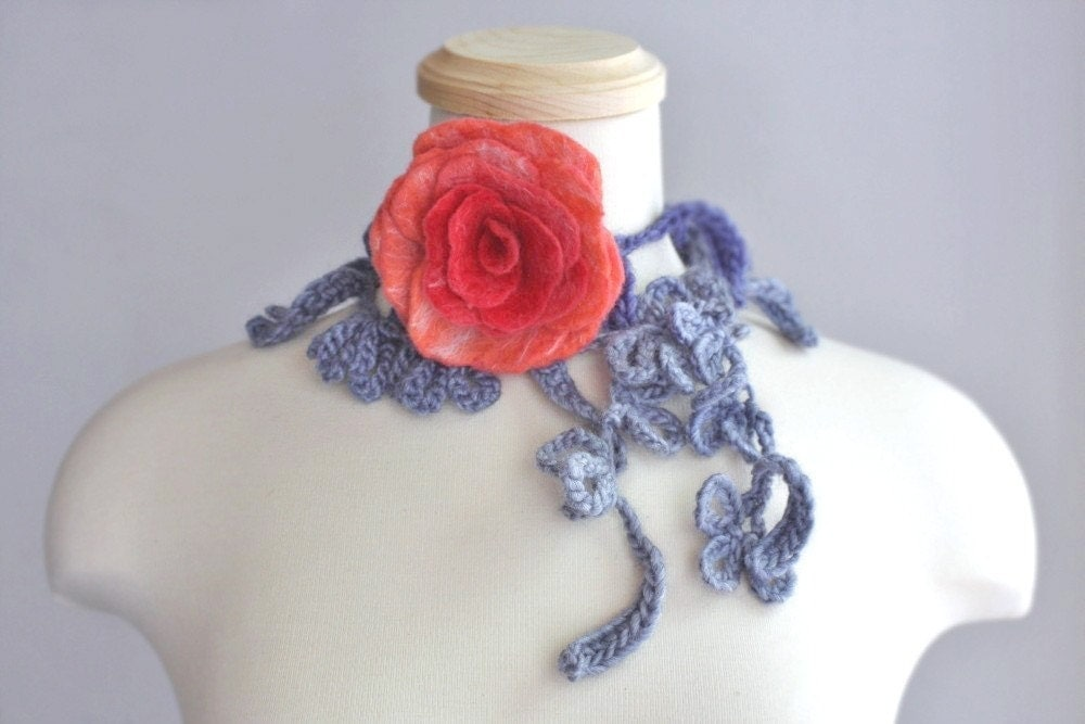 Felted Flower Rose with Crocheted Necklace/Lariat/Scarf/Bracelet in Gray, Indigo, Red, Deep Salmon, and White  Inspired by Vintage Style Jewelry