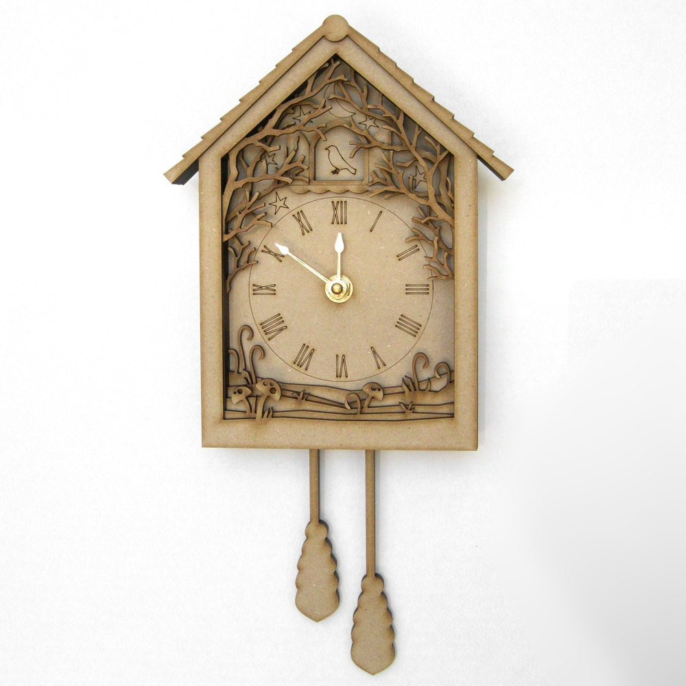 Shadow box cuckoo clock laser cut wood forest night by - Wooden cuckoo clocks ...