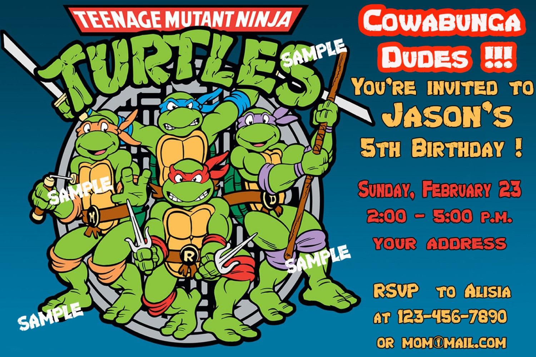 ninja turtle birthday invitation template – Teenage Mutant Ninja Turtles Birthday Invites