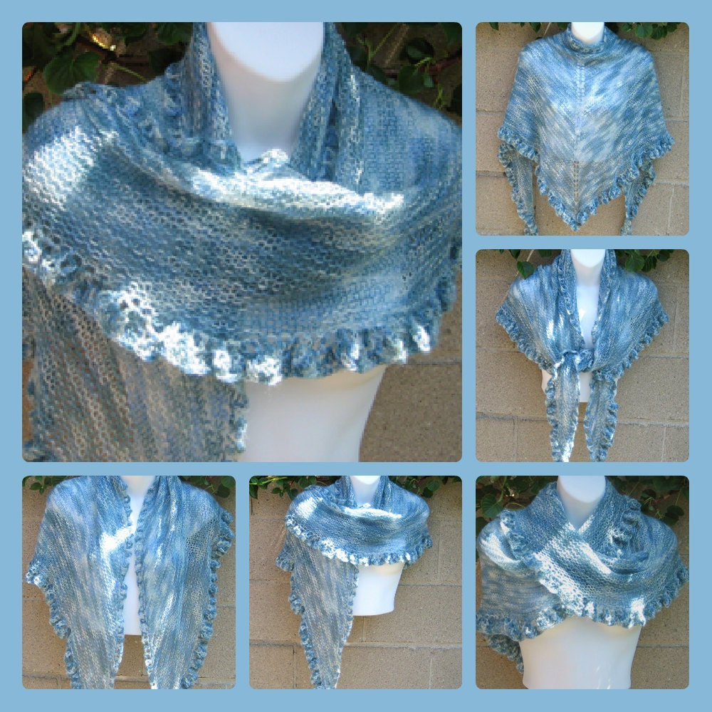 Blue Skies Knit Shawl Wrap - Pastel Crochet Wool Lace Ruffles - Bridal Wedding Something Blue