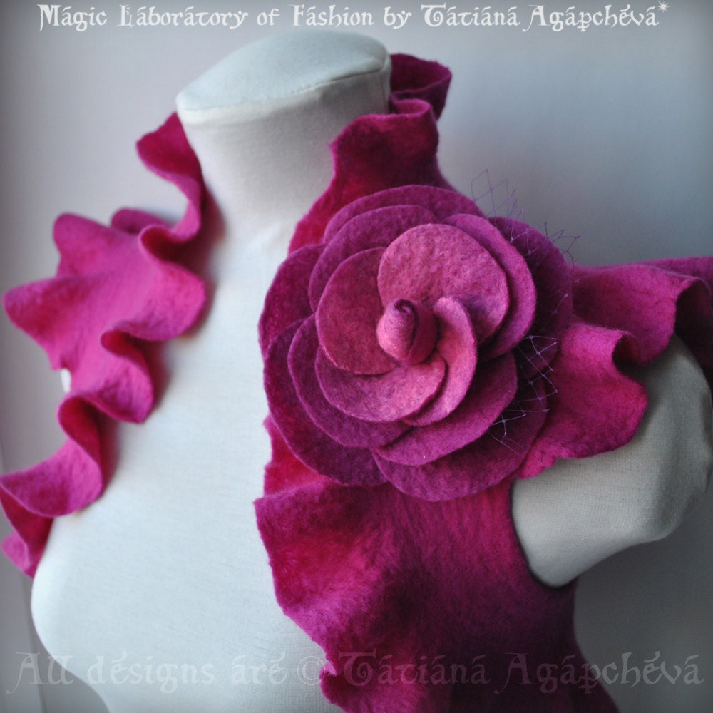 Bolero, Shrug, Jacket, Felted, Bridal, Huge Rose Corsage US Size 6, 2012 Design FUCHSIA ROSE