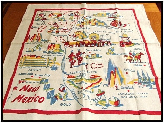 NEW MEXICO  STATE MAP SOUVENIR TABLECLOTH CACTUS CLOTH HTF RARE//  FREE SHIPPING