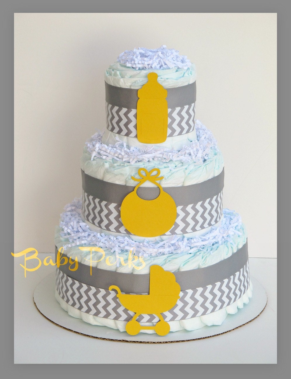 gray chevron baby shower grey and yellow diaper cake baby shower