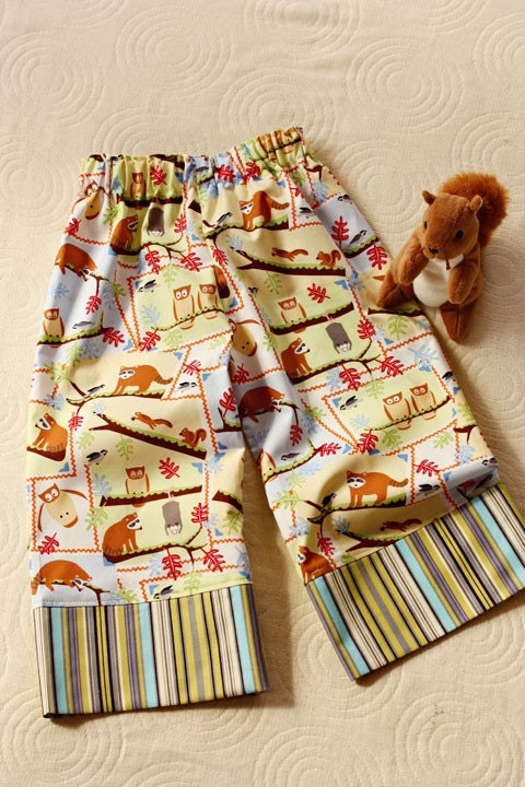 Last Pair SQUIRRELY Extra Comfy Wide Leg Lounge Pants for Babies and Toddlers Boys or Girls by babe-a-gogo