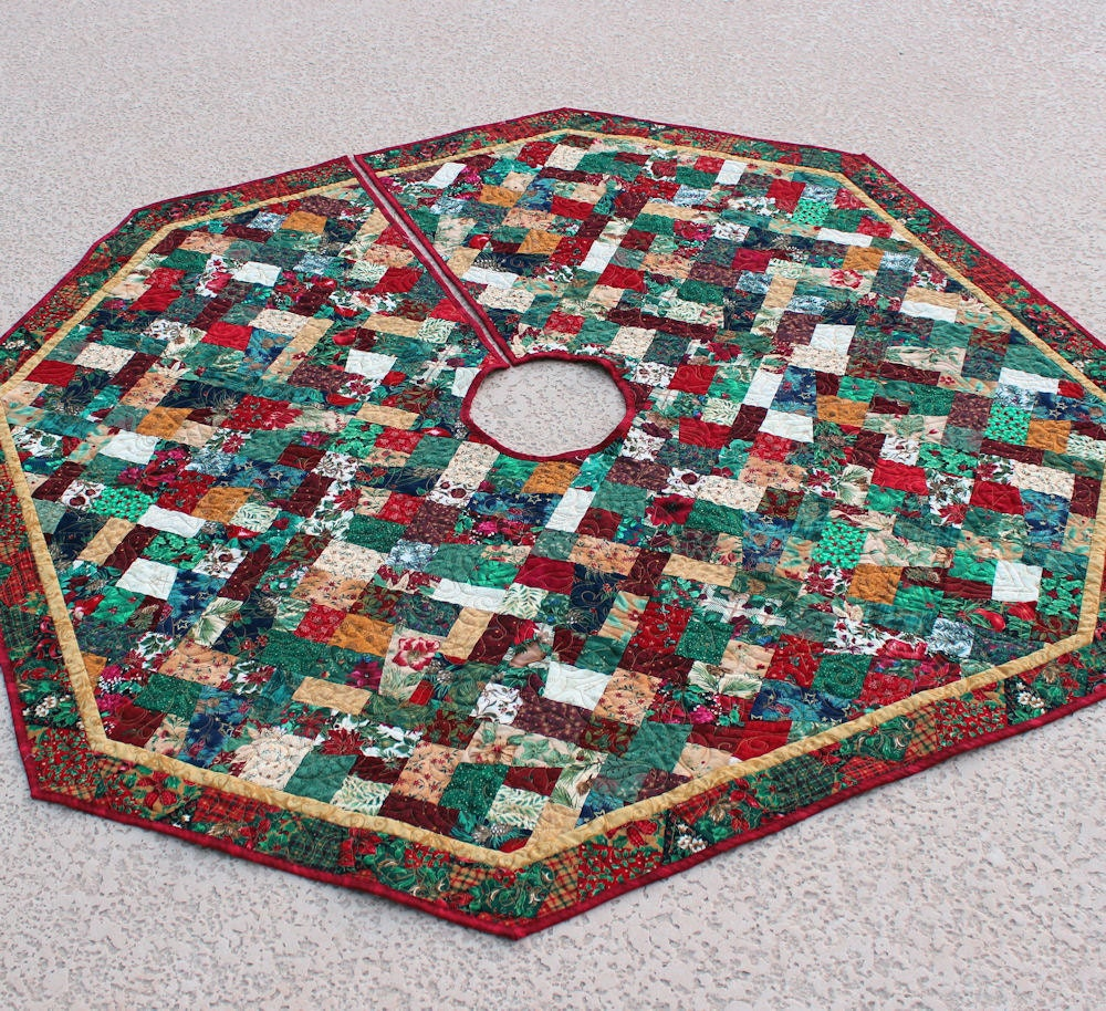 Country christmas tree skirt inch crazy by quiltsewpieceful