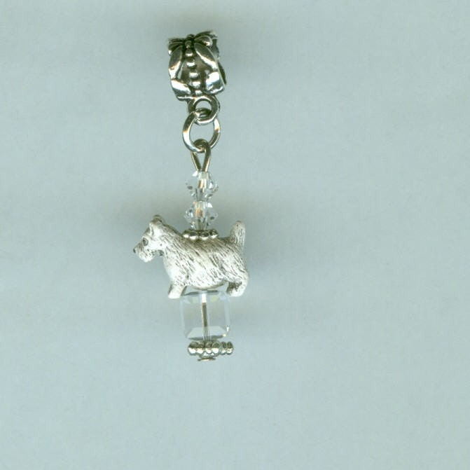 white scottish terrier bead charm for pandora by