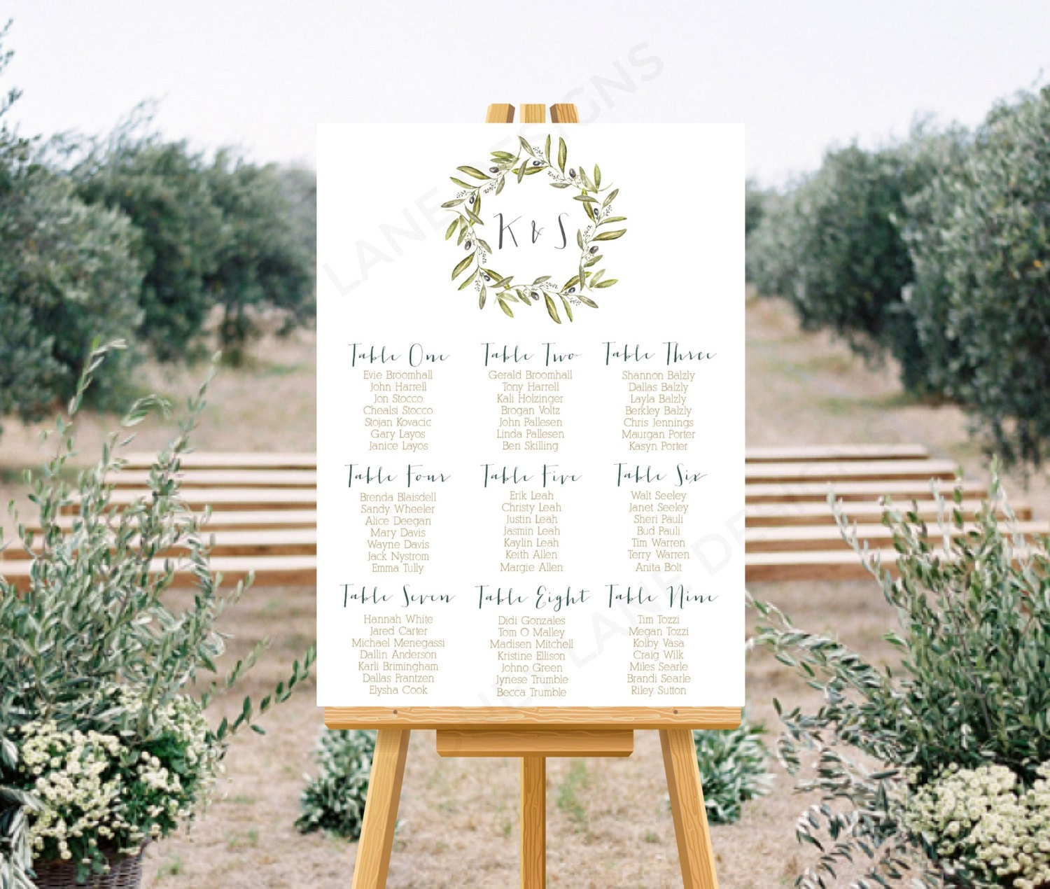 Personalised Printable Wedding Seating Chart Wedding Table Plan  Olive Wreath Collection