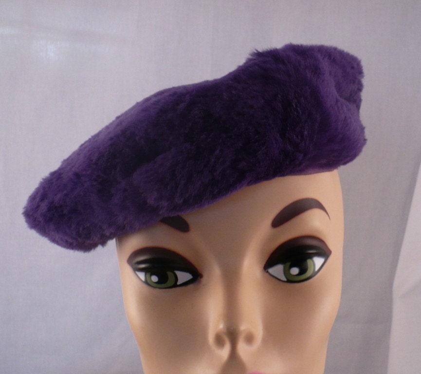 1960's vintage purple faux fur beret