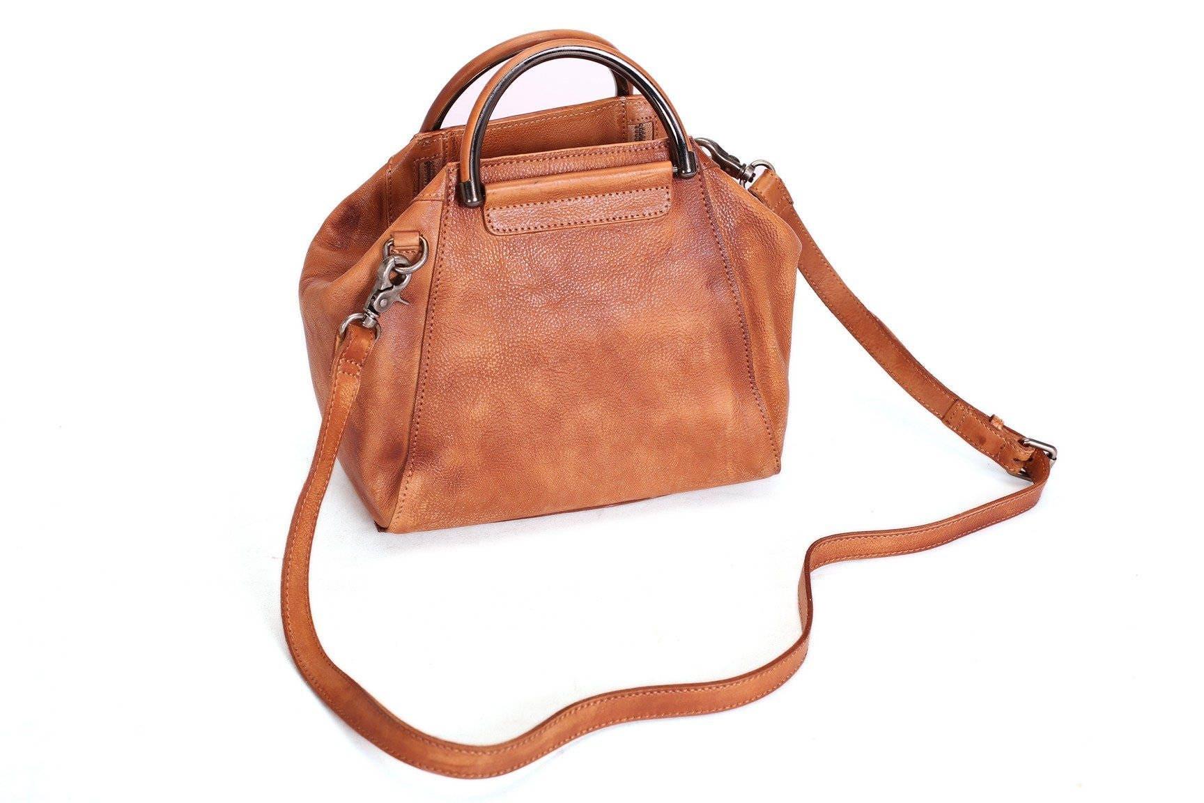 Handmade Full Grain Leather Womens Satchel Shoulder Bag Handbag