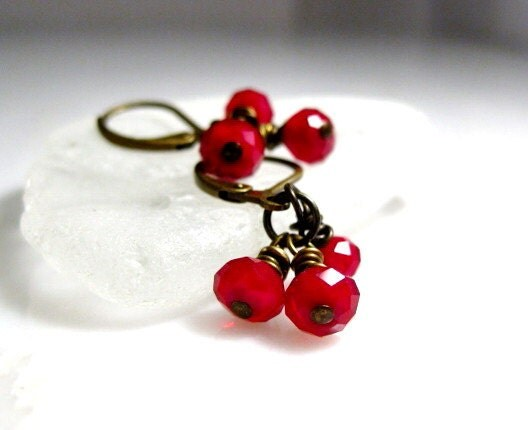 Christmas Red Crystal Petite Cluster Earrings Wrapped in Antique Brass Holiday Jewelry Christmas Jewelry