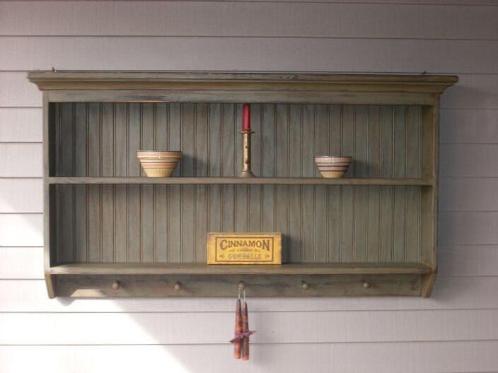 Items Similar To Double Wall Shelf Primitive 5 Peg Display
