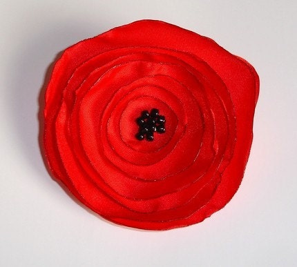 Pretty  Red Poppy Fabric Flower Corsage - Hand Made