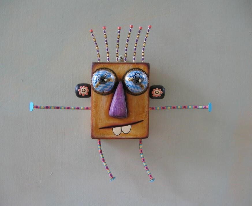 Gros câlin 4U, Art de mur objet trouvé Original, bois sculpté, de Studio de confiture de figue