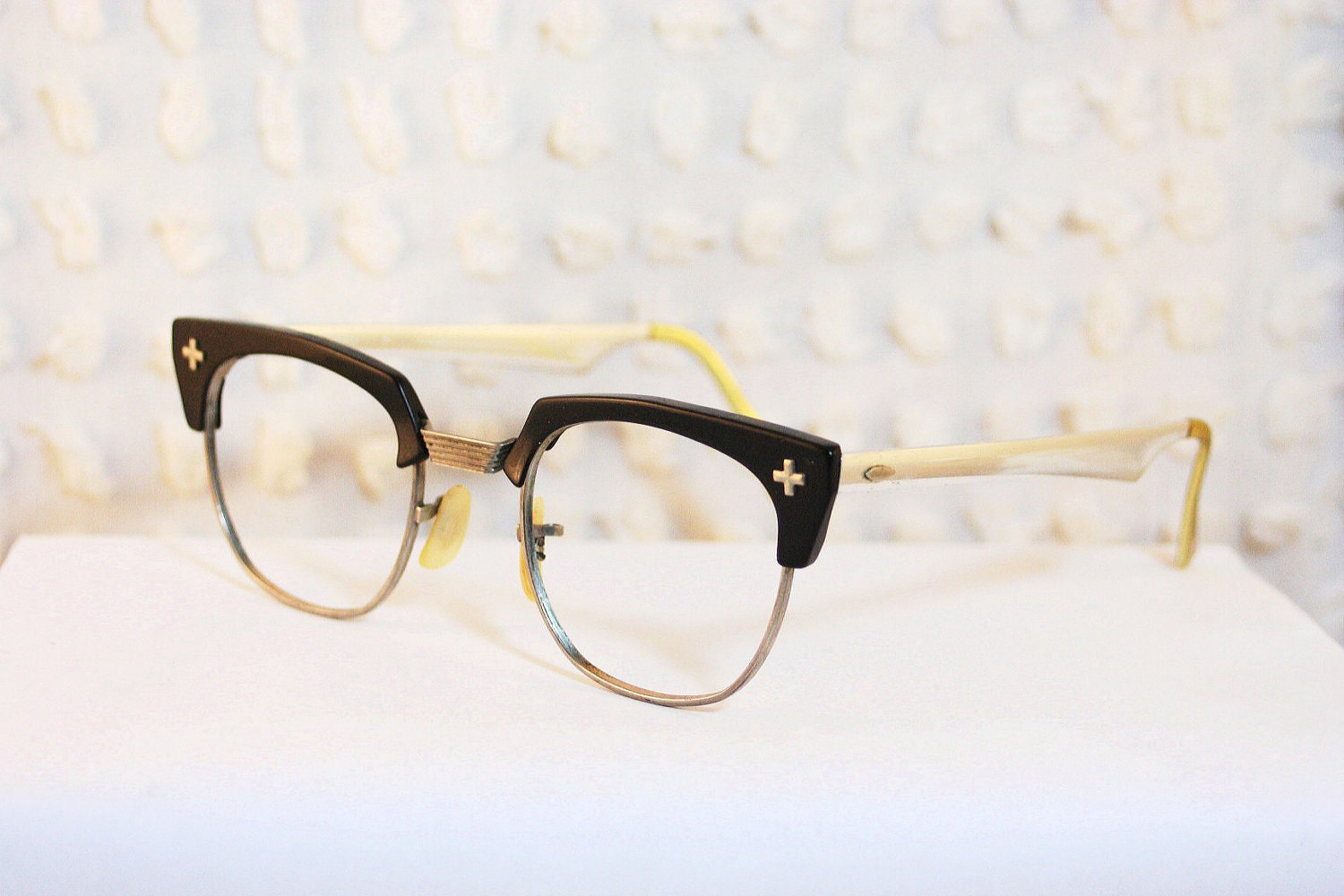 Black Cross Browline 1950's Eyeglasses G Man Zyl Silver Aluminum Mirror Temple Large Size 48/22 by Bausch and Lomb