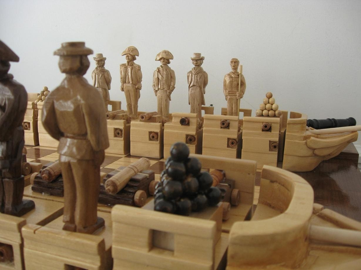War of 1812 Chess Set by Jim Arnold, The Constitution versus the Guerierre