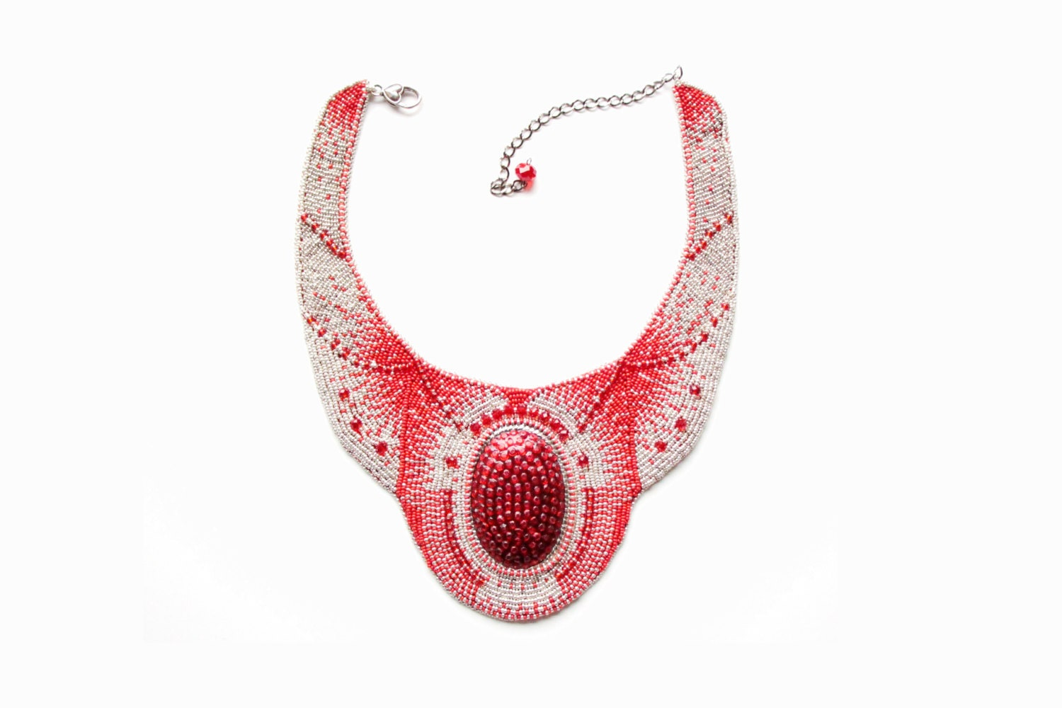 Red silver seed bead embroidery necklace Egyptian Large beaded jewelry embroidered Statement Cocktail party disco Beadwork Spring gift - RasaVilJewelry