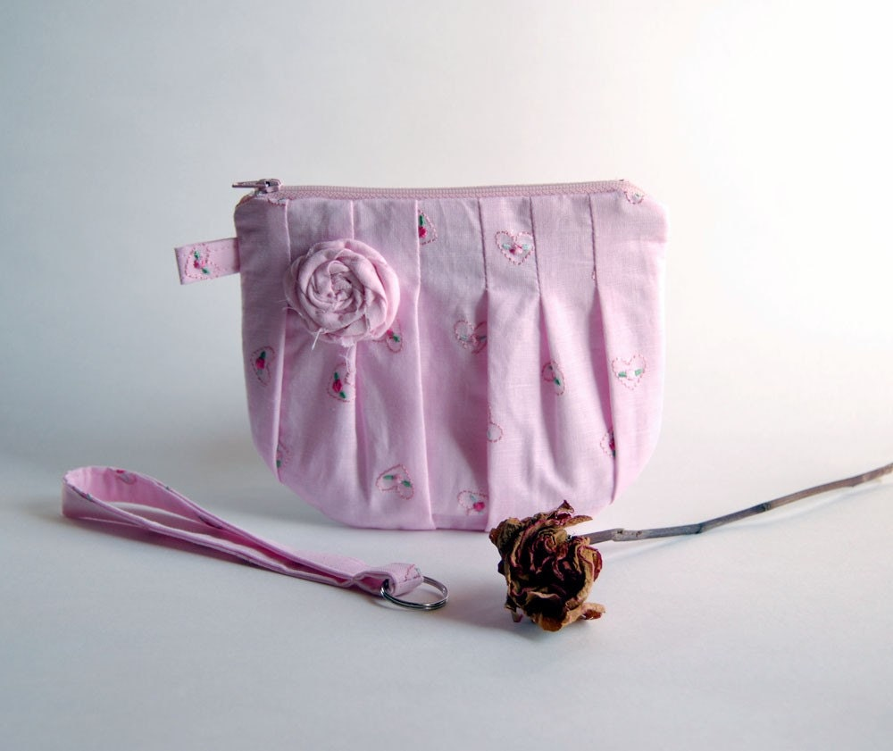 On Sale 15% OFF- Romantic Rosebud pleats in pink zippered pouch, purse, clutch, wristlet by Lolos