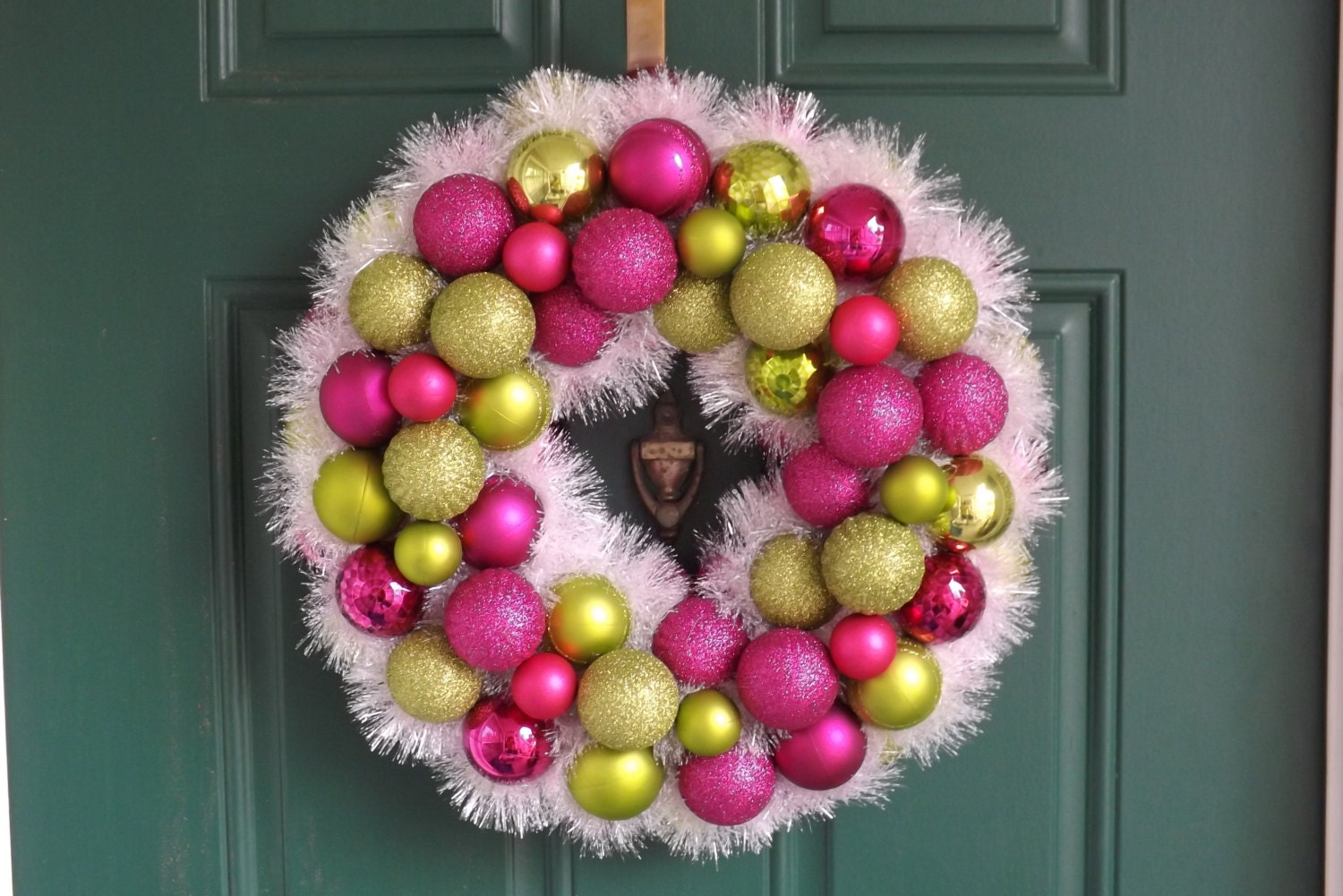 Christmas Lime Green and Pink Ornament Wreath with White Tinsel Garland - NOLACraftsbyDesign