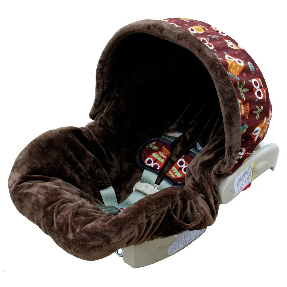 earthy owl infant car seat cover by ritzybabyoriginal on etsy. Black Bedroom Furniture Sets. Home Design Ideas