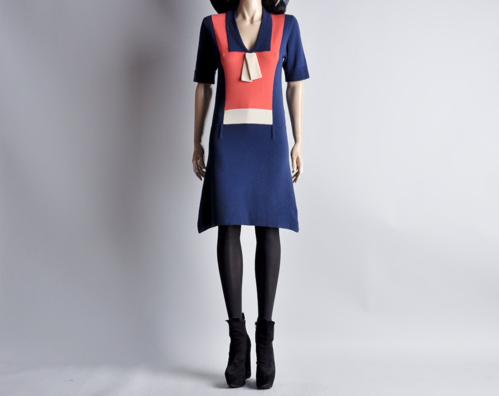 mod knit BIBA colorblock dropwaist sailor dress / s - persephonevintage