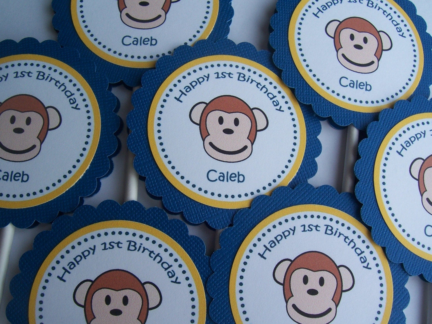 Personalized Birthday Cupcake Toppers - Set of 12 Monkey