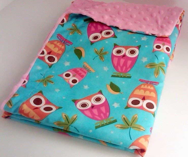 Owl Minky/Cotton Blanket and a Matching Pouch