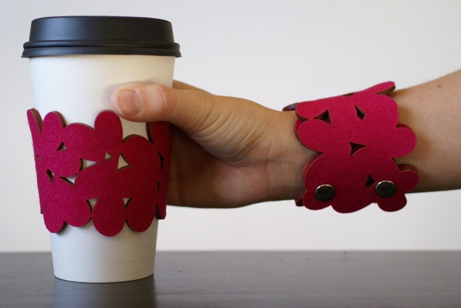 cozy/cuff SNAP - bracelet/reusable cup sleeve in pink wool felt - size medium - free shipping