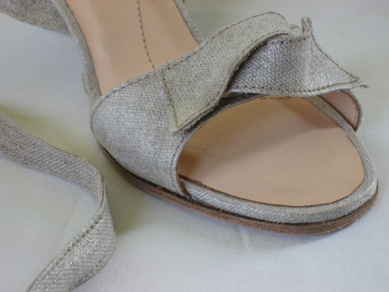 zerk custom silvery linen sandals