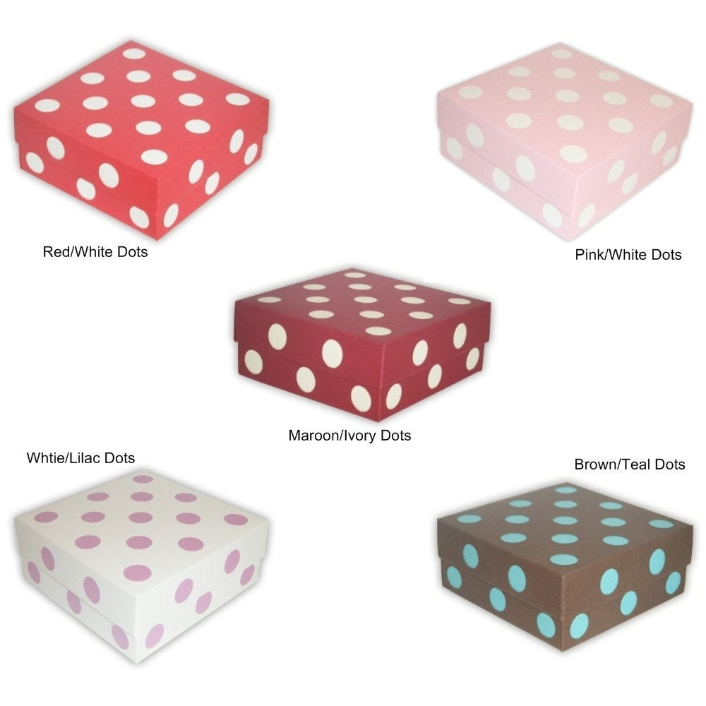 5 Small Polka-Dot Favor Boxes (custom colors available)