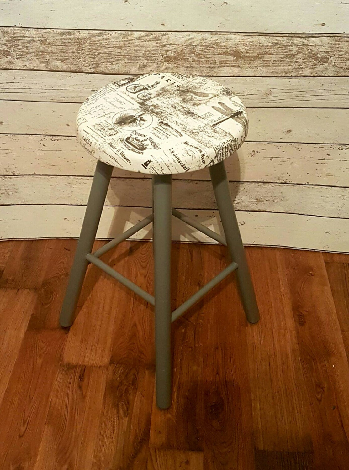 Ooak Rustic Grey Stool French Typography Victorian Cafe Kitchen Garden