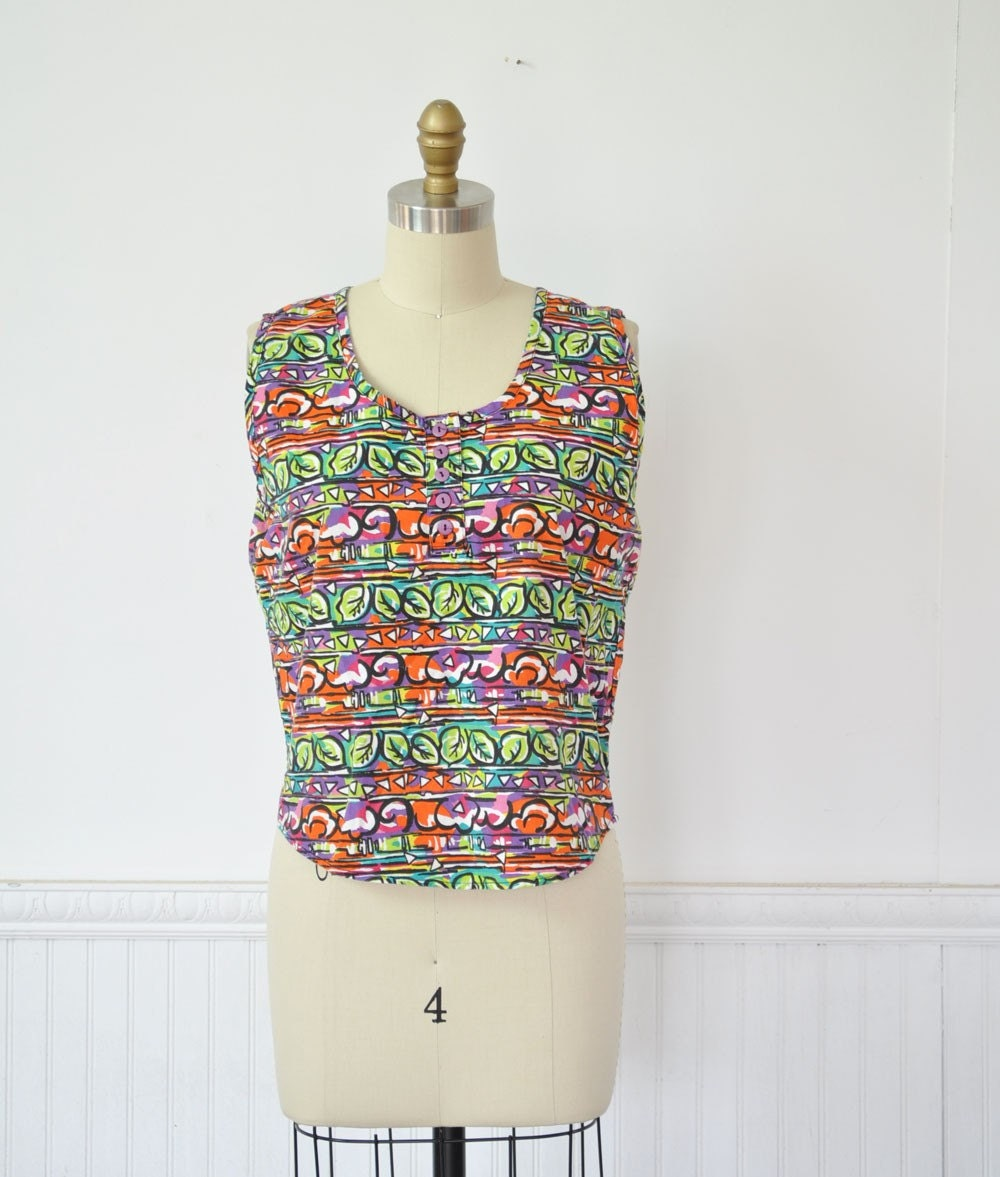 Vintage 80s GEOMETRIC Print Tank Top by MariesVintage on Etsy from etsy.com