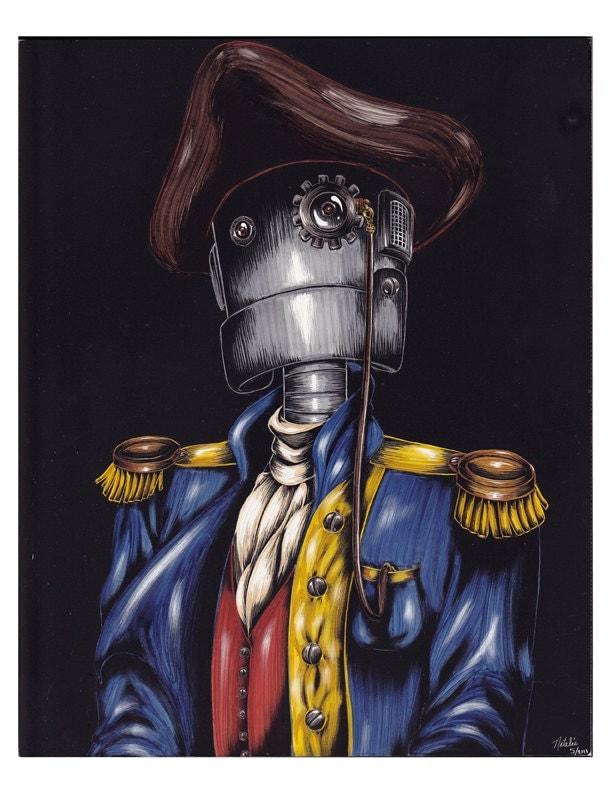 Robot Captain - Art Print - Original on Scratchboard - natalierobots