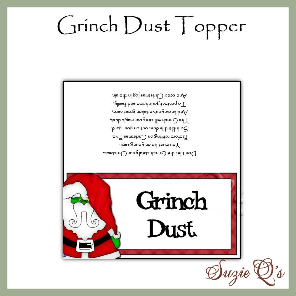 Grinch Dust Toppers Digital Printables by SuzieQsCrafts on Etsy