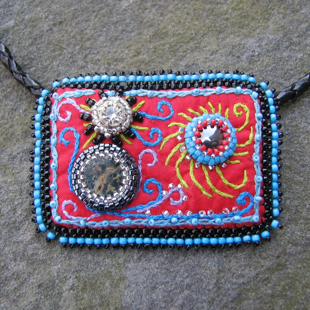 Bead embroidered pendant strange universe on leather and sterling necklace