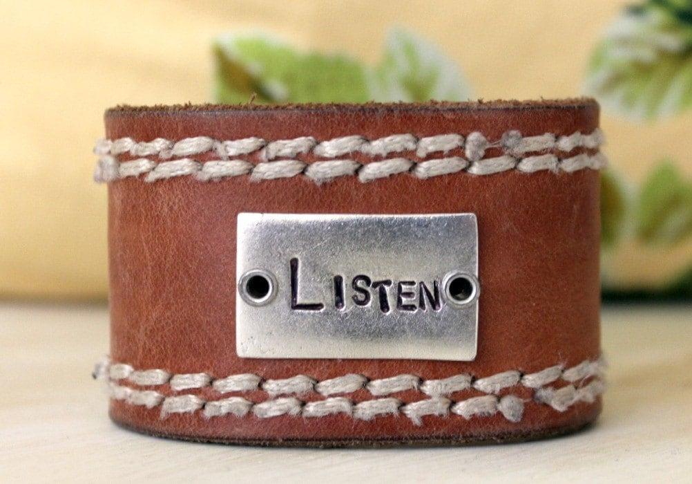 listen leather cuff