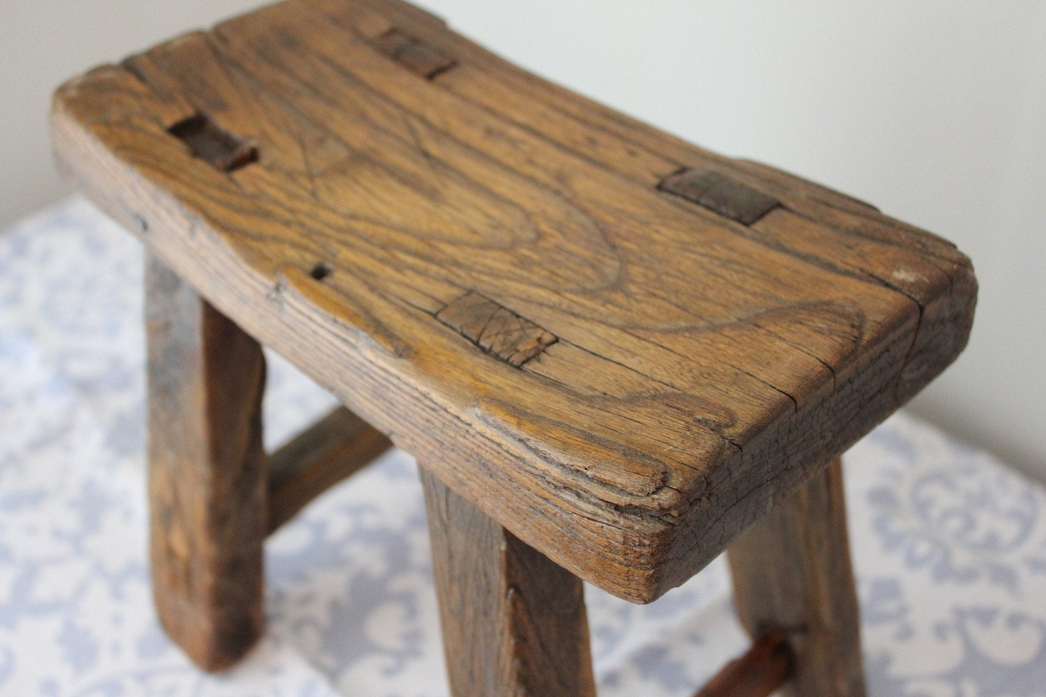 Rustic Reclaimed Wood Foot Stool Reserved For By Landrvintage