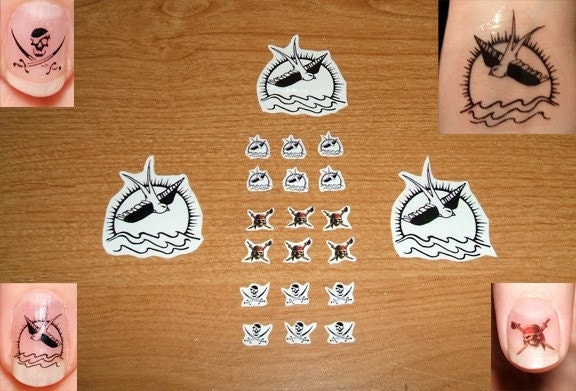 3 Captain Jack Sparrow temporary sparrow tattoos, and 18 PotC nail decals!