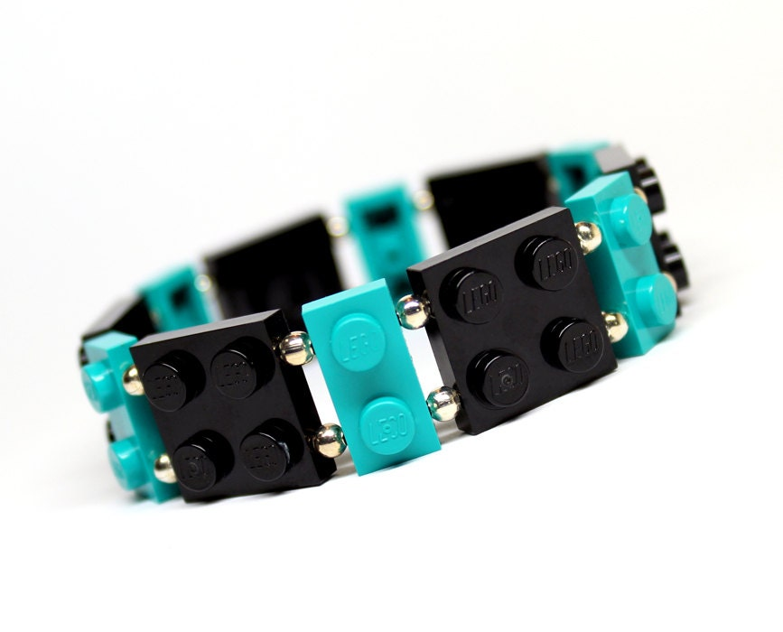Geek Bracelet in Black and Teal - made from New LEGO (r) Pieces - MoLGifts
