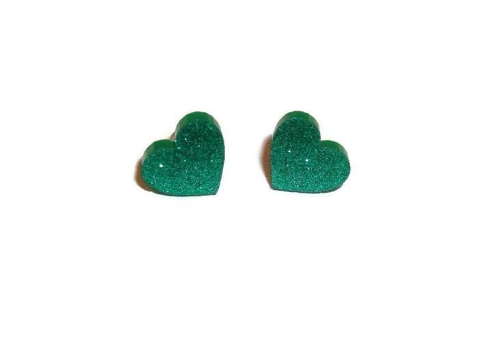 Glitter Heart Earrings Emerald Green Sparkly Stud Earrings Kawaii Laser Cut Perspex