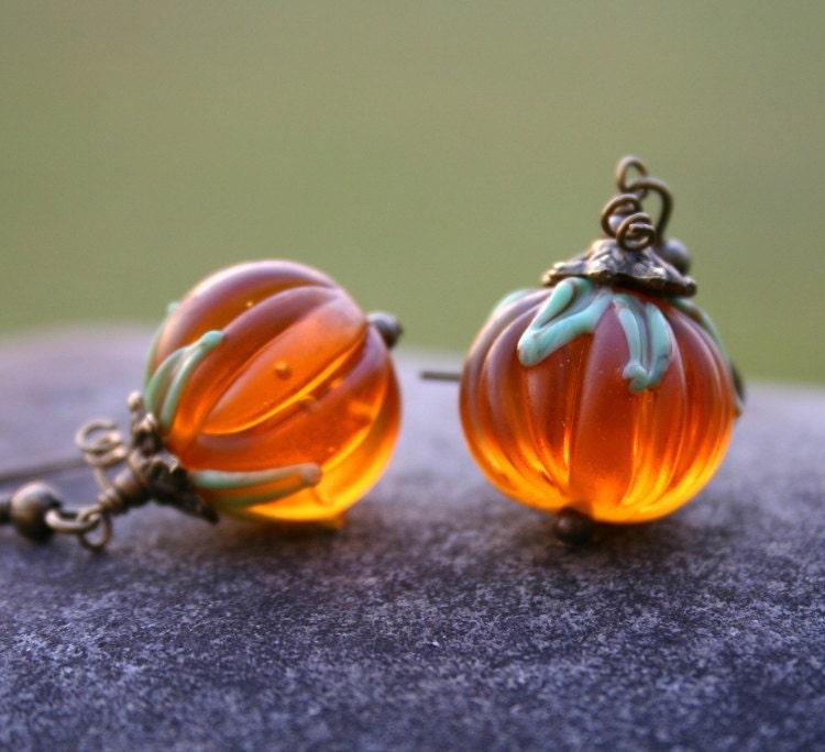 Pumpkin Earrings, Halloween, Fall, Harvest Jewelry - InspiredTheory