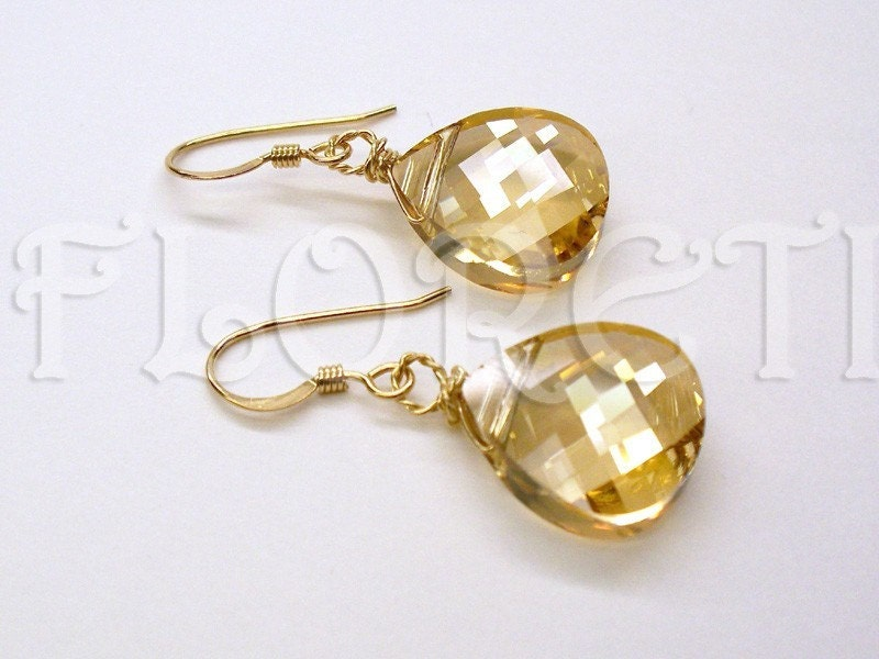 Golden Honey Comb Swarovski Dangle Earrings 14k GF by floreti from etsy.com