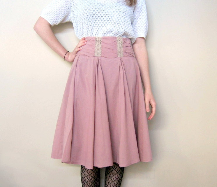 Pleated Dusky Rose Skirt