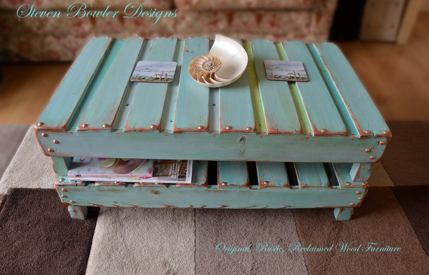 Rustic Reclaimed Wood Coffee Table in Duck Egg Blue with Decorative Copper Edging  Tacks with Handy Undershelf Storage Handcrafted to Order