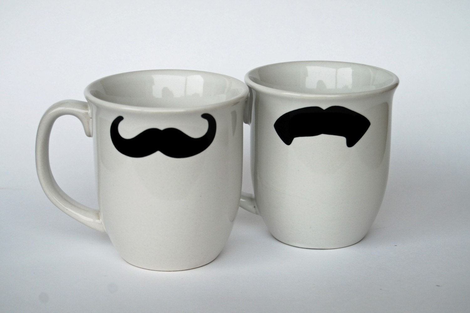 Mustache Coffee Mugs - WHITE - set of Two - select from five different styles