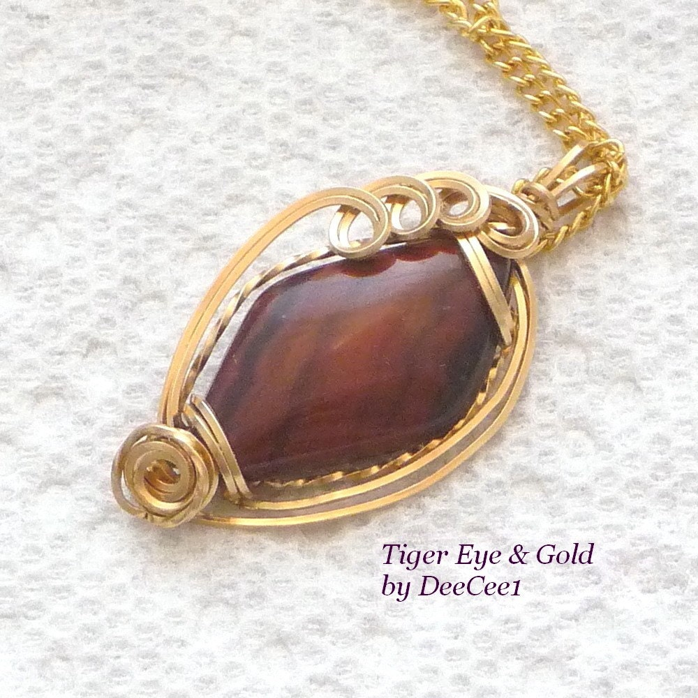 Tiger Eye  and Gold Wire Wrapped Pendant