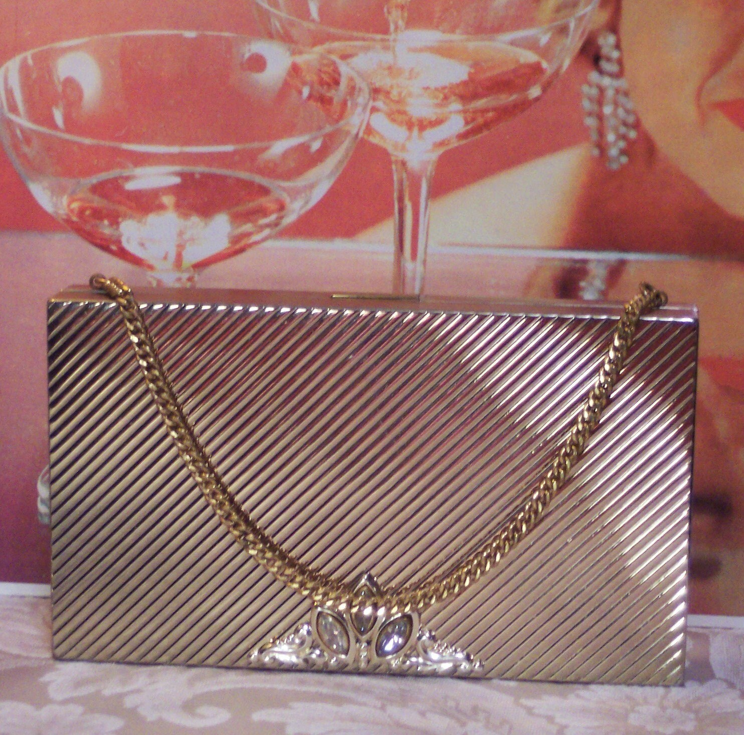 ART DECO VINTAGE EVANS MINAUDIERE LIPSTICK POWDER CIGARETTE EVENING BAG