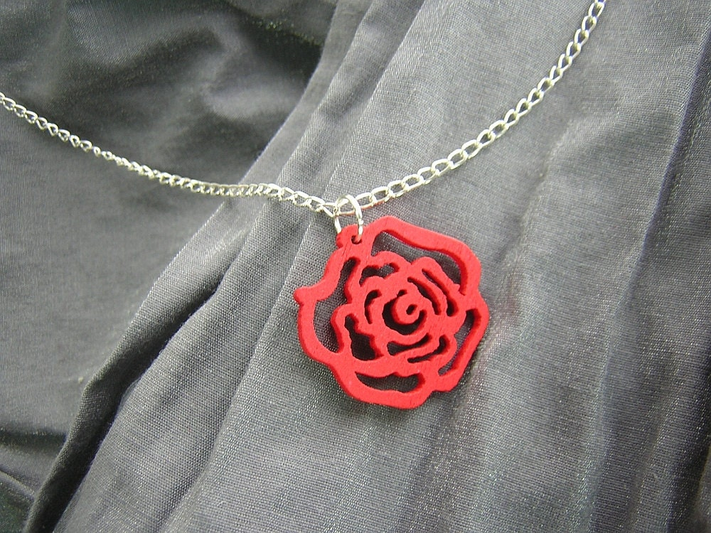 Painted Wooden Rose Simple Charm Necklace on Silver Chain - Your Choice of Colors - D225N-00848