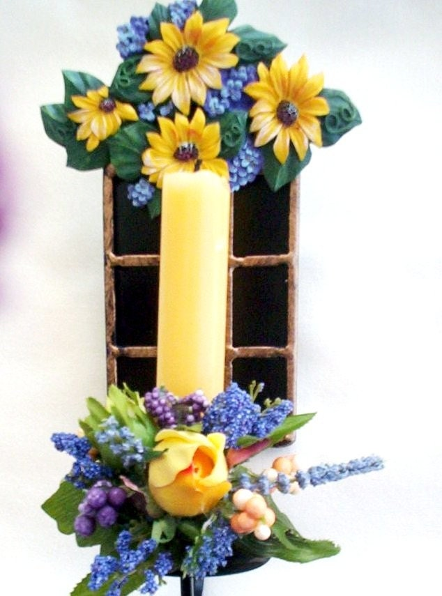 Sunflower home decor tuscan candle sconce by amorevivo on etsy for Sunflower home decor