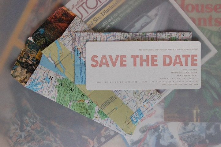 REINKED and RECYCLED - Save the Date - LETTERPRESS - Punched Out - 100 sets